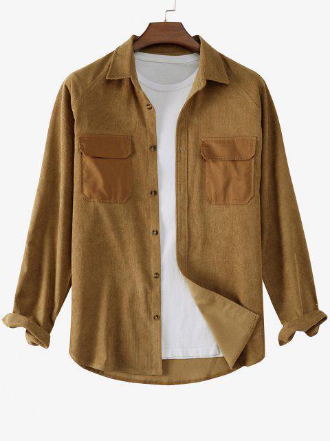 ラグラン袖のコントラストパッチポケットコーデュロイシャツ - コーヒー 2XL Mobile