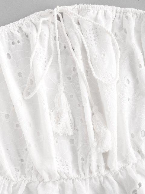 sale ZAFUL Tassels Off  Shoulder Schiffy Top - MILK WHITE L Mobile