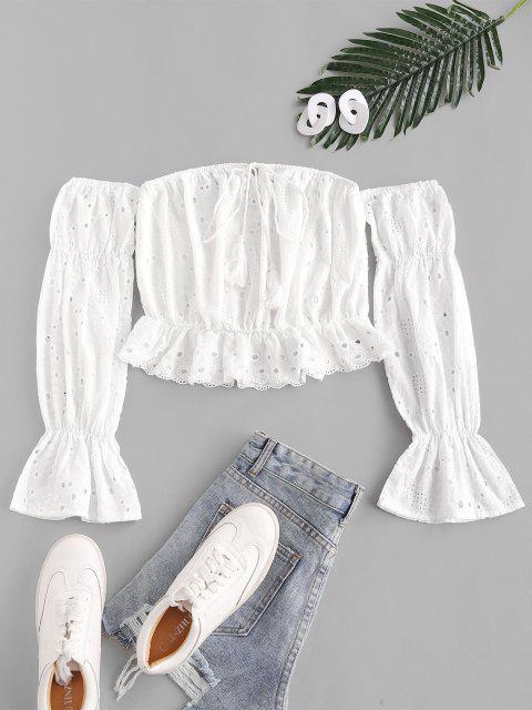 buy ZAFUL Tassels Off  Shoulder Schiffy Top - MILK WHITE M Mobile