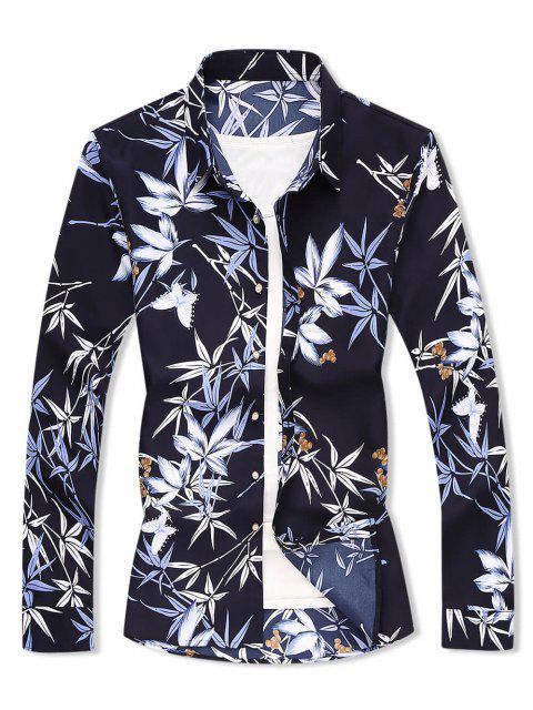 Camisa de Manga Larga de Impreso Hoja Floral - Cadetblue XL Mobile
