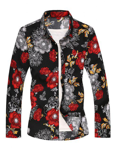 chic Flower Printed Long Sleeves Shirt - RED XS Mobile