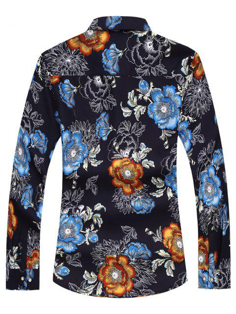 unique Flower Printed Long Sleeves Shirt - BLUE 2XL Mobile