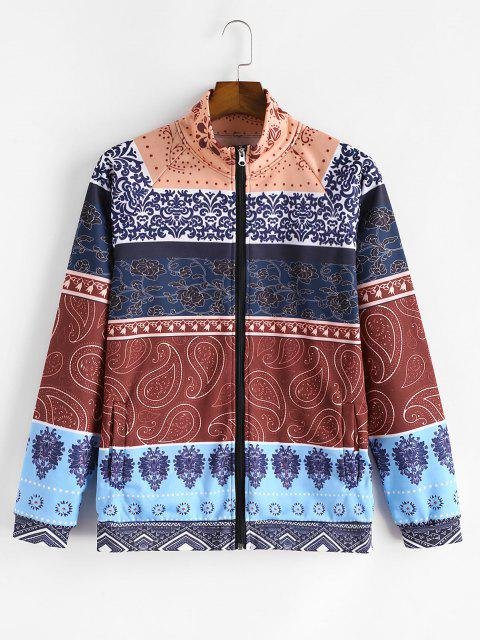 buy Tribal Flower Paisley Print Colorblock Flocking Jacket - MULTI-A 3XL Mobile