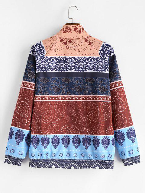 women's Tribal Flower Paisley Print Colorblock Flocking Jacket - MULTI-A 2XL Mobile