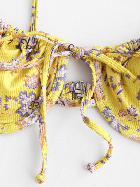 fashion ZAFUL Paisley Print Ribbed Tie Underwire Tanga Bikini Swimwear - YELLOW S Mobile