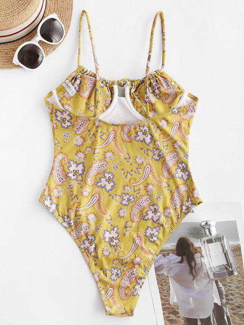 ZAFUL Gebundener Paisley Einteiliger Badebekleidung mit Hohem Ausschnitt - Dunkel gelb S Mobile