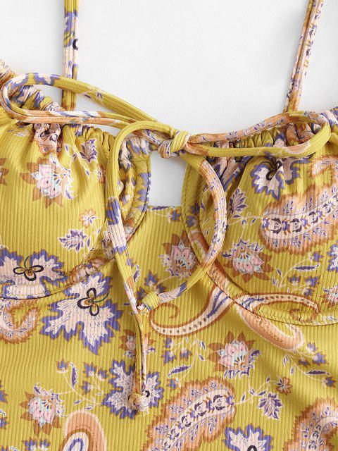 affordable ZAFUL Paisley High Cut Tie Ribbed One-piece Swimsuit - DEEP YELLOW L Mobile