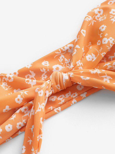 shops ZAFUL Ditsy Print Tied Bandeau Bikini Swimwear - DARK ORANGE M Mobile