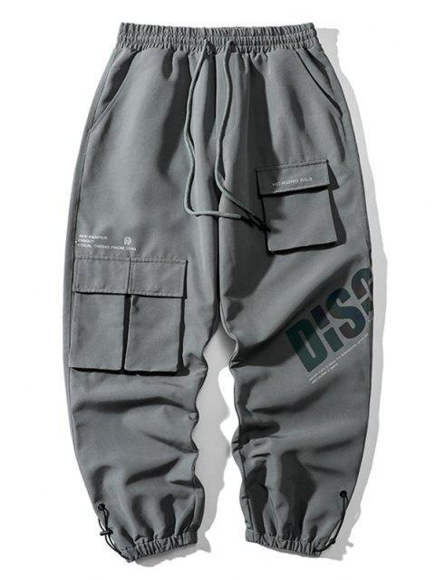 Pantalones de Carga con Estampado de Letras Reflexivas - Gris de Acorazado 2XL Mobile