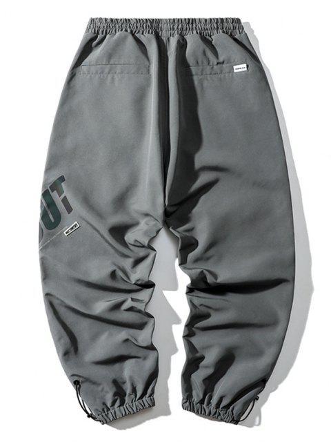 Pantalones de Carga con Estampado de Letras Reflexivas - Gris de Acorazado 4XL Mobile