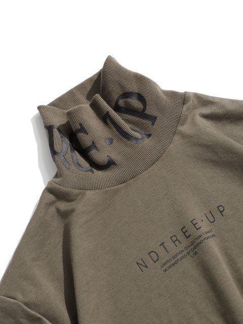 Sweatshirt mit Hohem Kragen und Buchstabe Druck - Licht Kaffee 2XL Mobile