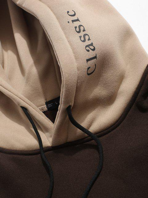online Color-blocking Letter Patch Detail Pouch Pocket Fleece Hoodie - COFFEE S Mobile