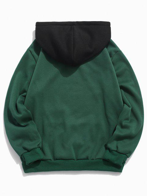 women Color-blocking Letter Patch Detail Pouch Pocket Fleece Hoodie - MEDIUM SEA GREEN XS Mobile