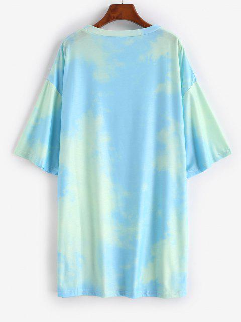 latest Tie Dye Sun Pattern Drop Shoulder Tee Dress - GREEN XL Mobile
