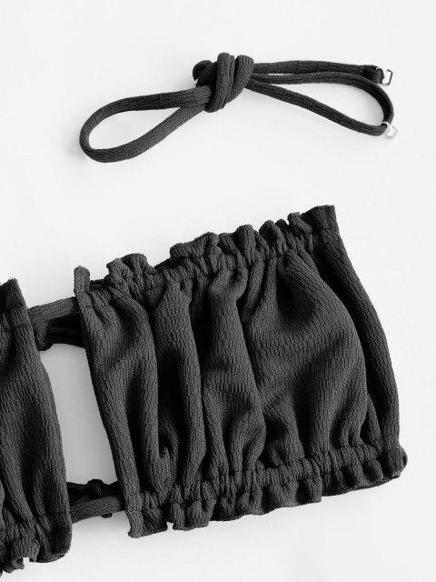 outfit ZAFUL Textured Ruffle High Leg Bralette Bikini Swimwear - BLACK S Mobile