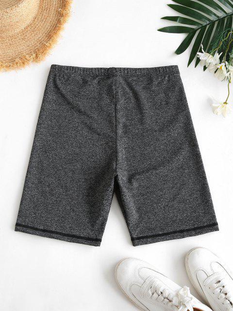 fancy High Waisted Space Dye Biker Shorts - GRAY L Mobile