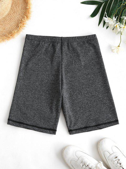 online High Waisted Space Dye Biker Shorts - GRAY S Mobile