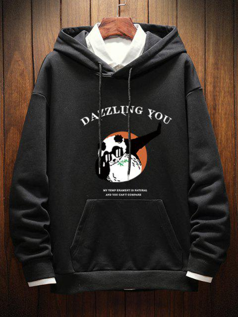shops Dazzling You Panda Graphic Drop Shoulder Hoodie - BLACK 2XL Mobile