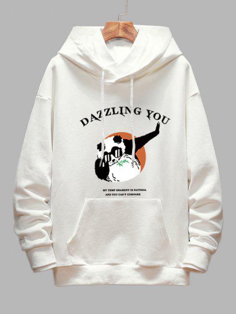 Dazzling Ombro Caído Gráfico Panda Moletom - Branco XL Mobile