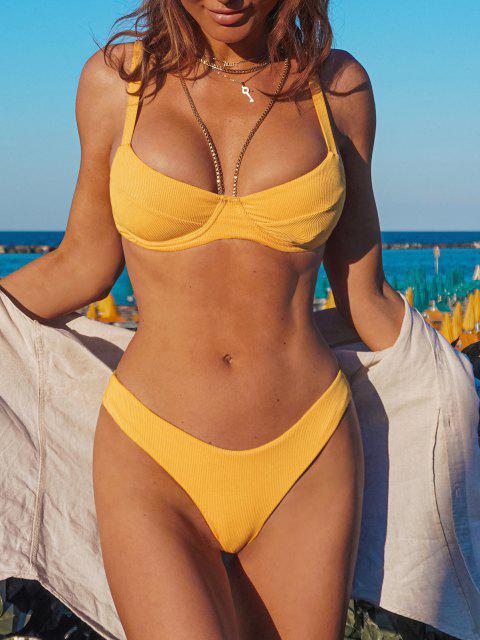best ZAFUL Underwire High Leg Ribbed Bikini Swimsuit - YELLOW M Mobile