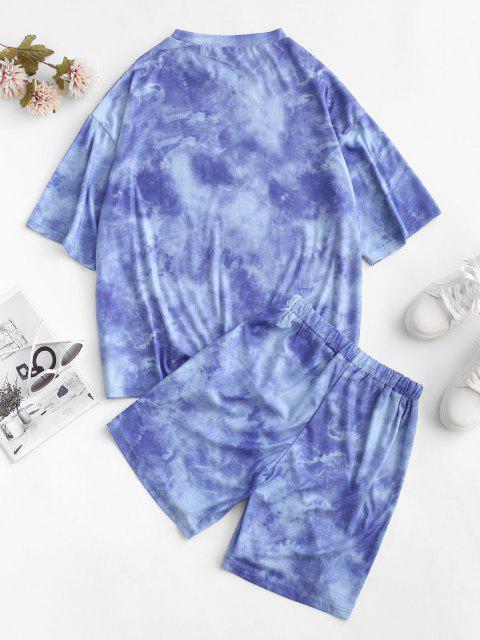 Krawattenfärbende Sonnendruck Fallschulter T-Shirt und Shorts Set - Blau XL Mobile
