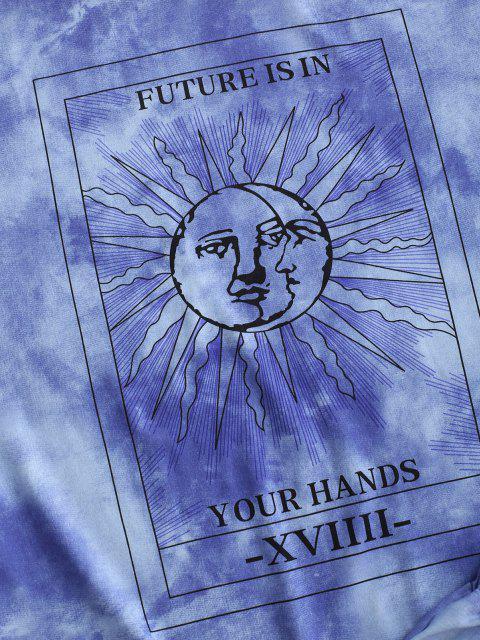 Krawattenfärbende Sonnendruck Fallschulter T-Shirt und Shorts Set - Blau S Mobile