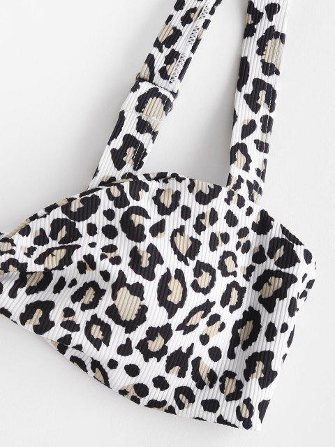 ZAFUL Maillot de Bain Bikini Côtelé Noué Léopard Etoile Imprimée - Violet clair M Mobile