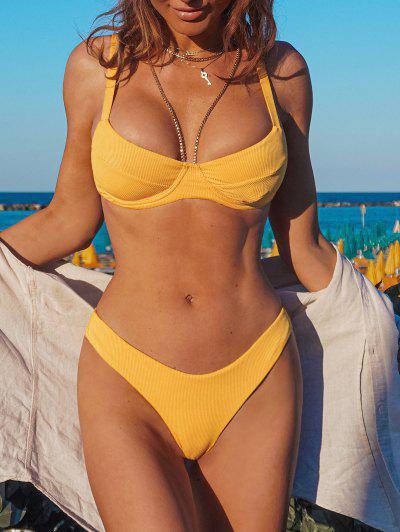 ZAFUL Bikini Acanalado De Corte Alto Con Aros - Amarillo M