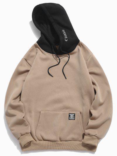 Color-blocking Letter Patch Detail Pouch Pocket Fleece Hoodie - Light Khaki S