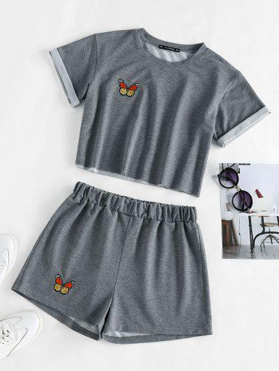 ZAFUL Butterfly Embroidered High Waisted Shorts Set - Dark Gray M