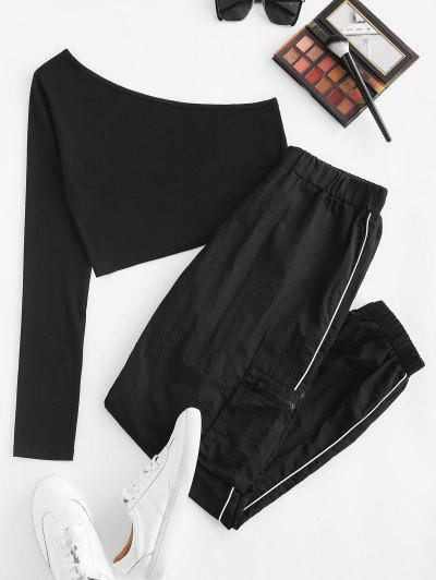 One Shoulder Top And Piping Windbreaker Pants Set - Black M