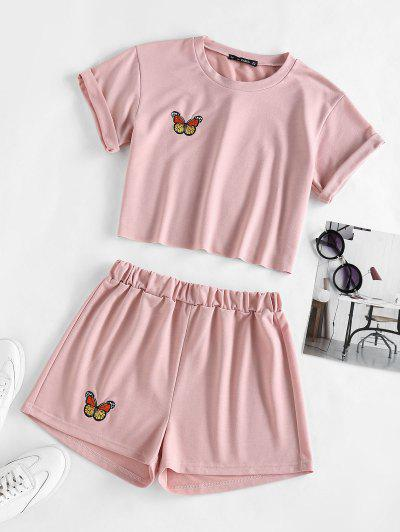 ZAFUL Schmetterling Besticktes Shorts Set Mit Hoher Taille - Hell-pink M