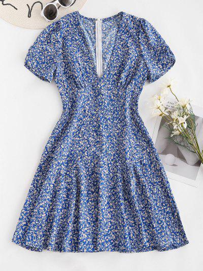 Empire Taille Langarm Ditsy Blumen Kleid - Blau L