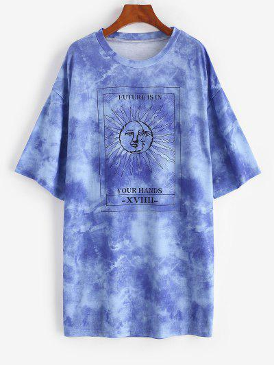 Tie Dye Sun Pattern Drop Shoulder Tee Dress - Blue L