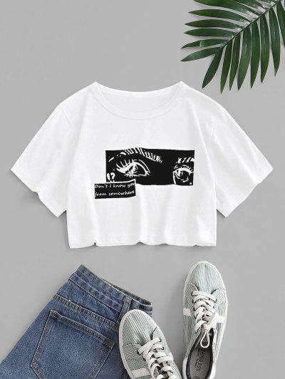 Pop Art Slogan Eyes Print Crop T-shirt - White S