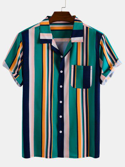 Contrast Stripes Pocket Patch Button Down Shirt - Deep Green S