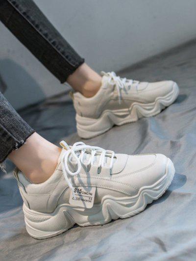 Sapatos De Bloco De Cores Com Aplicação De Letra - Bege Ue 40