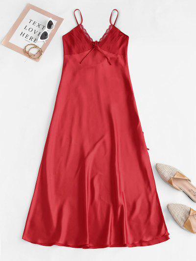 Pintuck Silky Lace Panel Satin Night Dress - Red L
