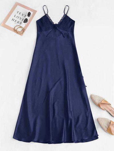 Pintuck Silky Lace Panel Satin Night Dress - Deep Blue M