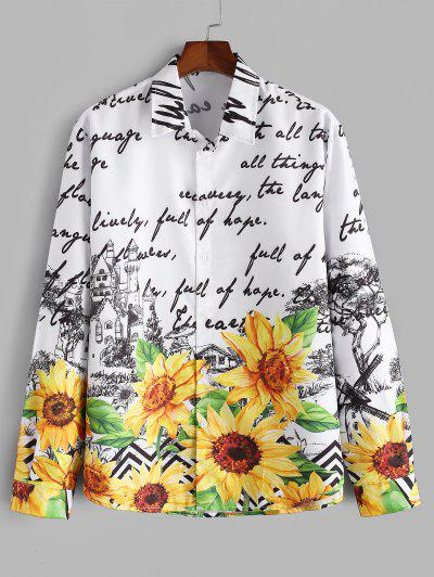 Letter Sunflower Print Button Up Casual Shirt - Multi 2xl