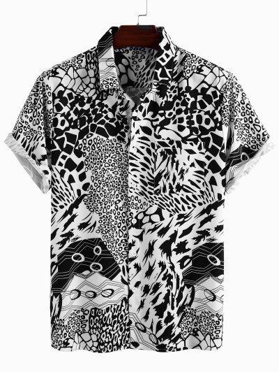 Leopard Geometric Print Pocket Patch Shirt - White M