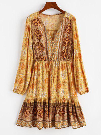 Mini Robe Fleurie Bouclée Avec Bouton à Cordon - Jaune M