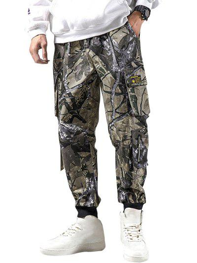 Camouflage Print Pockets Casual Pencil Cargo Pants - Camouflage Green Xl