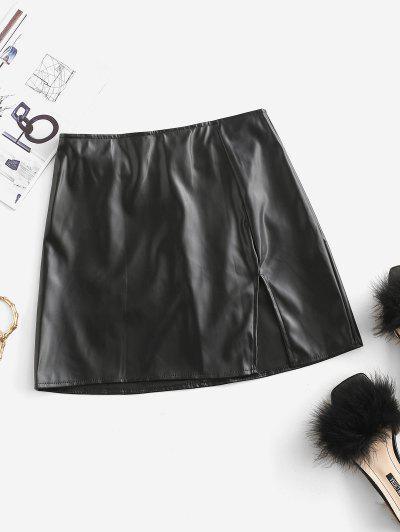 スリットフェイクレザーミニスカート - 黒 L