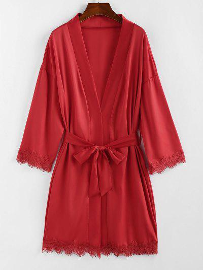 ZAFUL Belted Lace Trim Kimono Wrap Robe - Red L