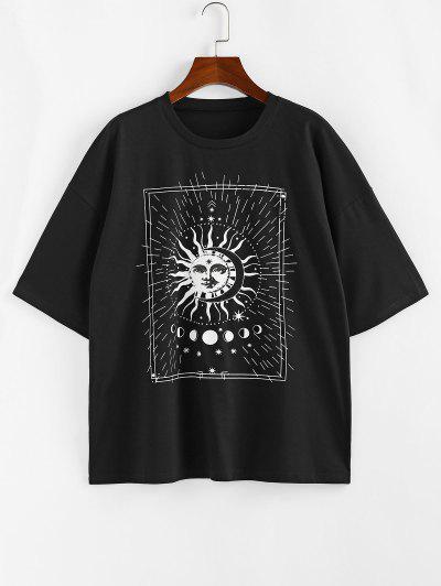 ZAFUL Drop Shoulder Sun And Moon Print Graphic T Shirt - Black Xl
