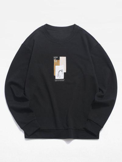 Letter Graphic Pattern Patchwork Sweatshirt - Black S