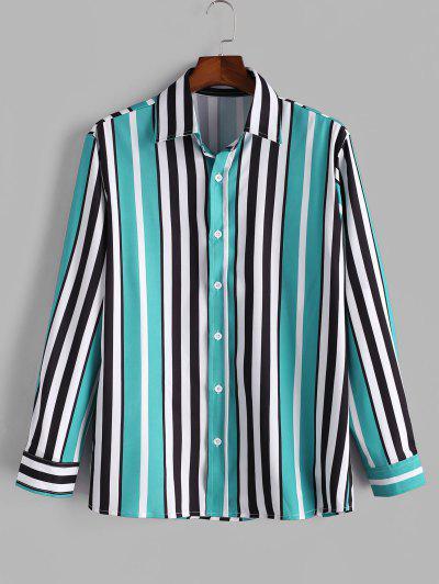 Vertical Striped Print Button Up Shirt - Medium Turquoise 2xl