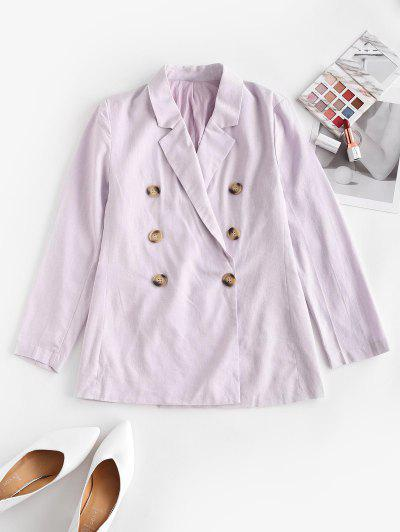 Solid Double Breasted Blazer - Light Purple L