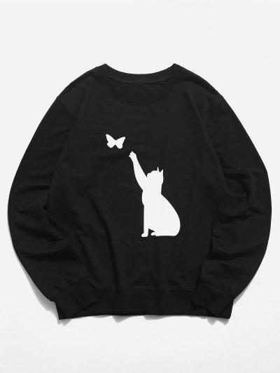 Rundhalsausschnitt Katze Schmetterling Grafik Lounge Sweatshirt - Schwarz Xl